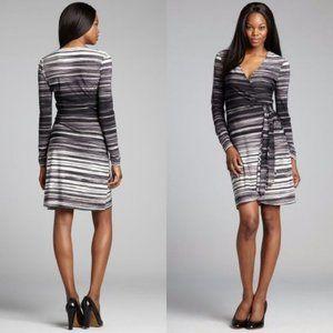 BCBGMAXAZRIA Stripe Print Adele Wrap Midi Dress